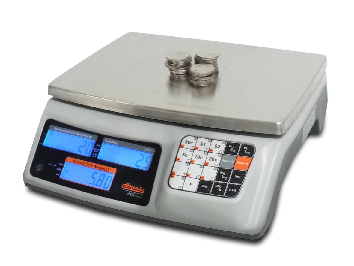 CAS Atronics 6kg x 0.1g Coin Counting Scale
