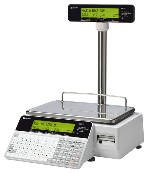 Ishida Uni-3 L2 Dual Range 6kg x 2g/15kg x 5g Label/Receipt Scale With Pole