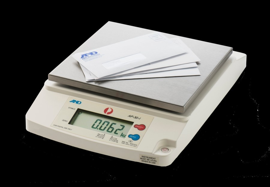 A&D AP-30i 2kg x 1g/30kg x 10g Post Office Scale