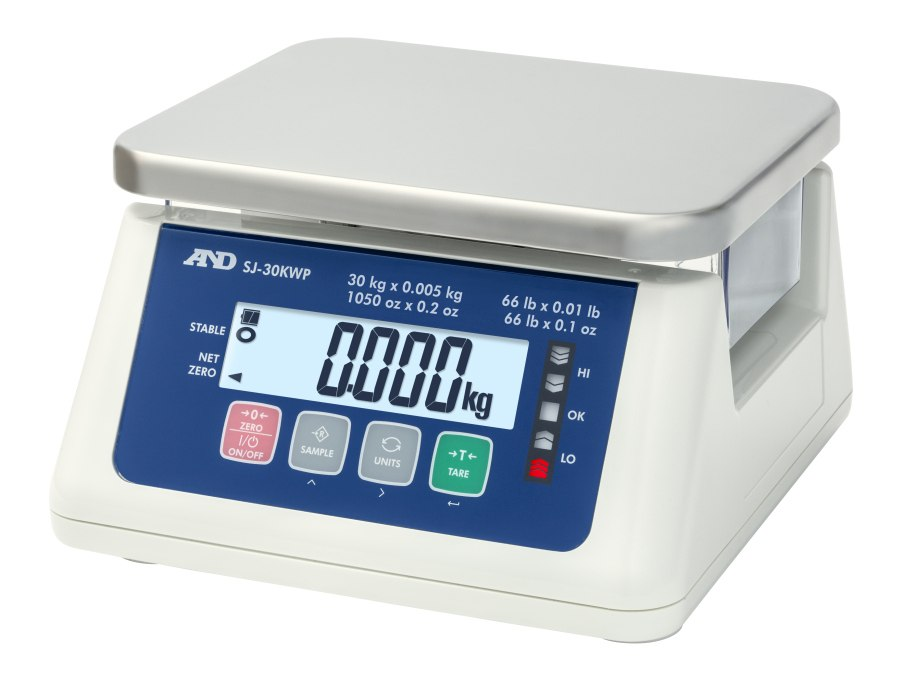 A&D SJ-30KWP 30kg x 10g/15kg x 5g IP67 Dual Range Waterproof Bench Scale